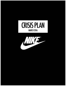 Nike Crisis Plan Cover Page
